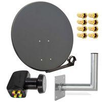 PremiumX SAT Anlage 80cm Antenne Quad LNB 8x F-Stecker Wandhalter 25cm
