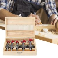 5Pcs Forstnerbohrer set 15 mm, 20 mm, 25 mm, 30 mm, 35 mm Holzbohrer Bohrer Set Astlochbohrer in Holz Aufbewahrungsbox