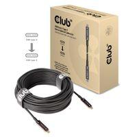 CLUB3D USB3.2 G2 TYPE-C ACT. OPT. A/V M/M 20M, 20 m, USB C, USB C, 3.2 Gen 2 (3.1 Gen 2), Schwarz