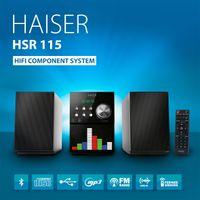 HAISER HSR 115 | 20 Watt RMS mit - CD-Player - Bluetooth - USB - Boxen - FM Radio - LED-Front-Panel | HiFi Component System