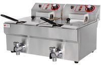 Beeketal Gastronomie Friteuse Fritteuse 230V, Fritteuse BTF/BWF:BTF20B - 9 + 9 L mit Ablaufhahn