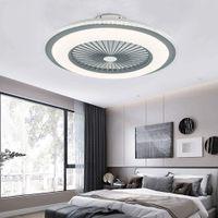 23'' Deckenventilator mit Beleuchtung und Fernbedienung Moderne LED Dimmbar Fan Lüfter Kronleuchter Deckenleuchte 3 Lichtfarben Leise (grau)