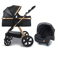 Pixini Travel-Set Arizona Luxe mit Babyschale (schwarz/gold)