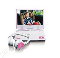 Lenco Tragbarer DVD Player (9 Zoll) DVP-910, Autohalterung, Kopfhörer, Farbe: Pink/Weiß
