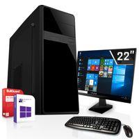 Office Komplett PC - AMD A8-9600 4x3.4GHz - Radeon HD R7 4GB - 16 GB DDR4 - 512GB SSD + 2TB HDD - 22 Zoll TFT - Windows 10 Pro - Desktop