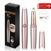 Hikeren Augenbrauenschneider,Epilierer für Lippen Kinn Wangen,  augenbrauen trimmer mit USB-Ladekabel und Bürste (mit LED)