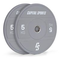 CAPITAL SPORTS Nipton 2021 Bumper Plate Gewichtsplatte , 2 x 5 kg , Stahlinnenring , 50,4 mm Aufnahmeöffnung , Hartgummi , Grau
