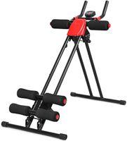 COSTWAY Bauchtrainer mit 4 stufigem Widerstand, Rückentrainer mit LCD-Display, AB Trainer klappbar, Bauchmuskeltrainer bis 100kg belastbar, Heimtrainer schwarz