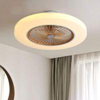 Deckenventilator mit Beleuchtung LED-Licht Einstellbare Windgeschwindigkeit Dimmbar mit Fernbedienung 58cm Moderne Deckenleuchte Deckenlampe Lüfterlicht Leise Fan LED Licht Dimmbar (Golden)