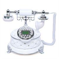 Vintage Retro Festnetztelefon Nostalgie Desktop Tischdeko Telefon Geschenk (Weiß)