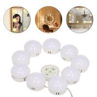10 LED Kosmetikspiegel Beleuchtungsset mit dimmbaren Gluehlampen Beleuchtungsstreifen fuer Make-up-Schminktisch im Ankleideraum USB-Anschluss