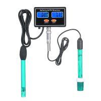 2-in-1-PH / Salzgehalt-Wasserqualitaetsmonitor Multifunktionales pH- und Salzgehaltmonitor-Messgeraet Meerwasser-Salzgehaltmonitor PH-Wasserqualitaetstester Dual-LCD-Display mit gruener Hintergrundbeleuchtung