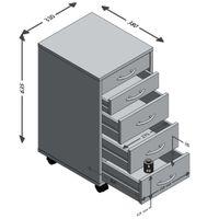 FMD Möbel FREDDY Beistellcontainer mit 2 kleinen und 3 großen SK, weiß, 336-001