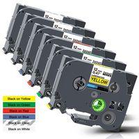 Xemax 6x kompatibel Schriftband Ersatz für Brother TZe-231 TZe-131 TZe-431 TZe-531 TZe-631 TZe-731 Laminiert Kassette Farbbänder für  P-Touch PT-H101C PT-1000 PT-D210VP PT-D400 PT-H105, 12mm x 8m