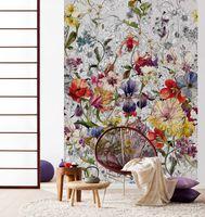 """Komar Fototapete """"Flora"""" 184 x 254 cm, bunt, schwarz-weißen Blüten, 4-201"""
