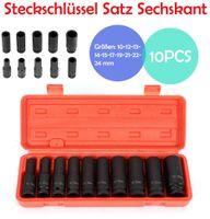 """Steckschlüssel  Nuss Satz  Schlagschraubernüsse KraftNüsse Kraft-Schlagschrauber-Nüsse  Nuss Set 1/2"""" (10)   Antrieb 10-24mm"""