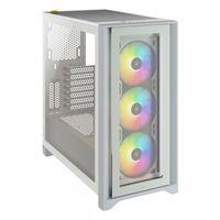 Corsair iCUE 4000X RGB - Midi Tower - PC - Kunststoff - Stahl - Gehärtetes Glas - Weiß - ATX - Gamin