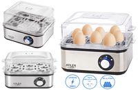 Adler Elektrischer Eierkocher | 1-8 Eier | Elektronische Härtegradeinstellung | Edelstahlheizplatte | Inklusive Messbecher mit Eierpiker | 500 Watt