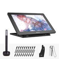 BOSTO Grafiktablett 16HD 15,6 Zoll IPS Grafik Zeichnungs Tablet 1920 * 1080 Hohe Auflösung 8192 Druckstufe mit wiederaufladbarem Stift, Stifthalter, Handschuh, 16GB-USB
