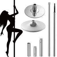 Profi Edelstahl Pole Dance Stange Tanzstange 45mm Tabledance Static + Spinning Ohne Bohren verstellbare Höhe 223 - 270 cm
