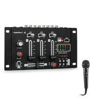 Resident DJ DJ-21- DJ-Mixer , DJ Mischpult Set , DJ Controller , USB , 3/2-Kanal , 600 Ohm , 76 dB , Rack-Einbau geeignet , Einsteiger und Fortgeschrittene , inkl. Mikrofon , schwarz
