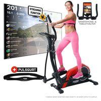 Miweba Sports Crosstrainer MC300, 21 kg Schwungmasse, für zuhause geeignet (Rot/Schwarz)