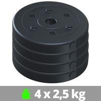 ScSPORTS® 2. Wahl 10 kg Hantelscheibenset Kunststoff 30 mm 4x2,5 kg Gewichte, Scheiben Set Kunststoffscheiben