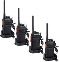 Retevis RT24 Plus Funkgeräte Set Walkie Talkies 16 Kanäle IPx4 Wetterschutz PMR Funkgerät, USB Ladeschale Walkie Talkie mit Headset (4 Stück, Schwarz), Two Way Radio