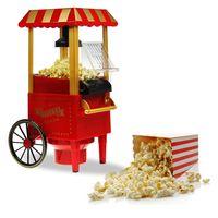 Popcornmaschine Retro Optik, Popcornautomat mit Rollwagen, Popcornmaker