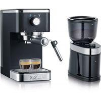 GRAEF ES 402 Salita Set Siebträger-Espressomaschine inkl. Kaffeemühle CM 202 schwarz, Farbe:Schwarz