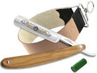 Rasiermesser-Set Solinger Rasiermesser Profi Qualität für eine sanfte Rasur - Premium Rasiermesser  Germany Olivenholz mit Streichriemen und Paste zur optmalen Nassrasur