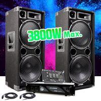 """Pack PA DJ PA - Lautsprecher 2x12 """"- 2x1400W + Verstärker 2 x 1000W MyDJ AX2000 + Mixer 6 Kanäle - USB / MP3"""