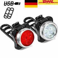 2 Stück /Set LED Fahrradlampe Set USB Akku Radlicht Fahrradlicht Vorne & Hinten Lampe