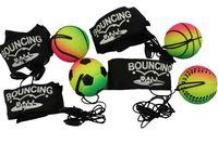 4er Set Neon-Springball/Returnball/Flummi, Armband & Schnur, Safety Clip, Fußball/Tennisball/Basketball/Baseball Ø4,7cm