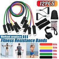 12Stk / Set Fitnessbänder Resistance Band Latex Trainingsröhrchen Yoga Train 10-30Lbs Widerstandsbänder