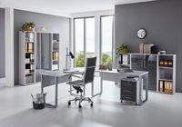 Büromöbel komplett Set Arbeitszimmer Office Edition in Lichtgrau/Anthrazit Hochglanz Set 5