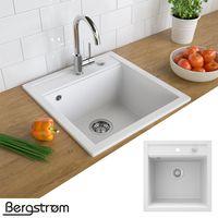 Bergström Granit Spüle Küchenspüle Einbauspüle Spülbecken 490x500mm Weiß