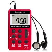 Retekess V-112 Tragbare AM / FM Stereo Radio Tasche 2 Band Digital Tuning Radio Mini Empfänger Outdoor Radio mit Kopfhörer Lanyard 1,5 Zoll LCD Bildschirm 500mAh Batterie