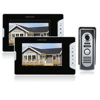 OWSOO 7-Zoll-Video-Türsprechanlage Türklingel-Intercom-Kit 2 Innenmonitor 1 Außenkamera Nachtsicht Freisprecheinrichtung Elektrische Schlosssteuerung für die Sicherheit zu Hause