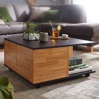 FineBuy Design Couchtisch 70x70 cm   Wohnzimmertisch mit 2 Schubladen   Sofatisch mit Rollen   Tisch mit 2 Fächern, Nachbildung/Front:Anthrazit / Sandeiche