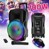 "Lautsprecher-Soundsystem DJ KARAOKE PARTY 700W Batterie Mobile Disco 12"" RGB-LED USB/MICRO SD/BT/ FM RADIO VHF + Micro + UFO Ufo"
