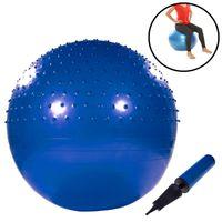 Gymnastikball mit Noppen 65cm inkl. Handpumpe Blau Fitnessball Yogaball Sitzball Sportball Aerobik Balance Pilates Ball