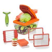 TS24Direkt Set - Genius Nicer Dicer Chef S Premium 9-teilig Orange/Rot