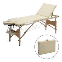 Meerveil Massageliege, 3 Zonen mobile Massageliege, Massagebank Kosmetikliege, klappbare Therapieliege tragbares Massagebett, Höhenverstellbar Holzfüße, Beige