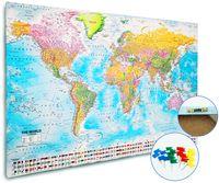 Weltkarte Pinnwand XXL 2018 MAPS IN MINUTESÙ(80x120cm) gerahmt