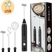 USB wiederaufladbare Milchschäumer,elektrischer Hand-Milchaufschäumer,2 in 1 Milchschäumer Elektrisch für Kaffee - Schwarz