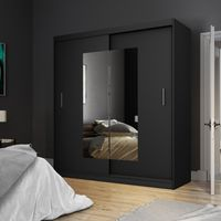 Selsey - Kleiderschrank VANIVA mit Spiegel und Schiebetüren in Schwarz Matt, 180 cm