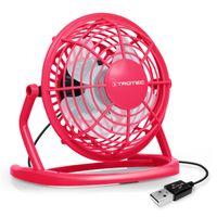 TROTEC TVE 1P Mini USB Ventilator / Fan / Lüfter Raspberry Pink, geräuscharm mit An/Aus-Schalter, 360° Neigungswinkel, ideal für Schreibtisch Laptop Notebook, oder unterwegs (pink)