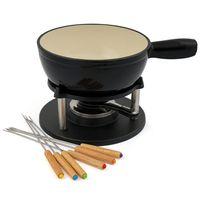 BBQ-Toro 9-teiliges Gusseisen Fondue Set für 6 Personen, 2 L, emailliert schwarz