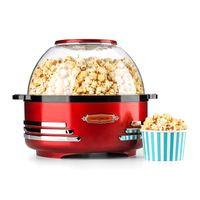 oneConcept Couchpotato - Popcornmaschine im stilvollen Retro-Design, Retro Edition, integriertes Rührwerk, gleichmäßige Hitzeverteilung, kurzes Aufheizen, antihaftbeschichtet, bis zu 5,2 Liter, rot